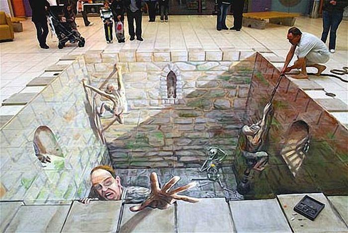 Сногсшибательные объемные рисунки на асфальте (21 фото)