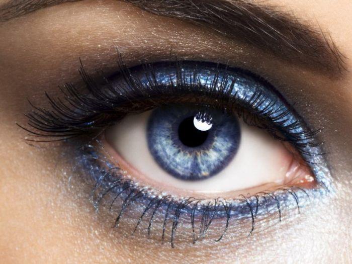 синий глаз, тени, ресницы, макияж.