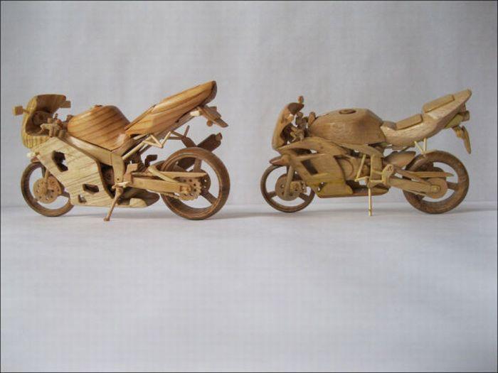 Деревянные мотоциклы (13 фото)