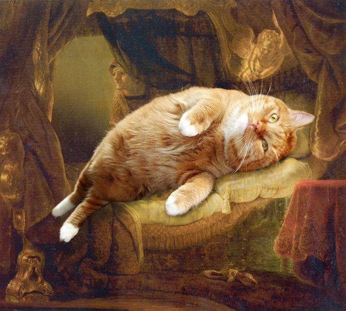 КотЭ в шедеврах мировой живописи (22 рисунка)