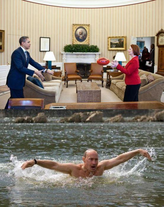 Путин против Обамы (12 фото)