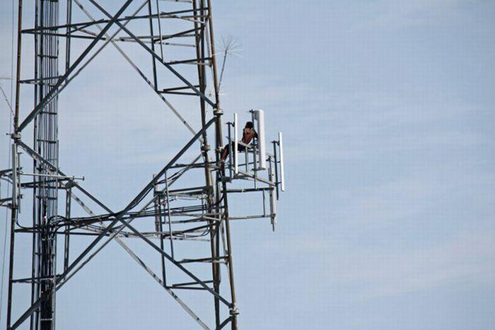 Странный парень на радиовышке (15 фото)