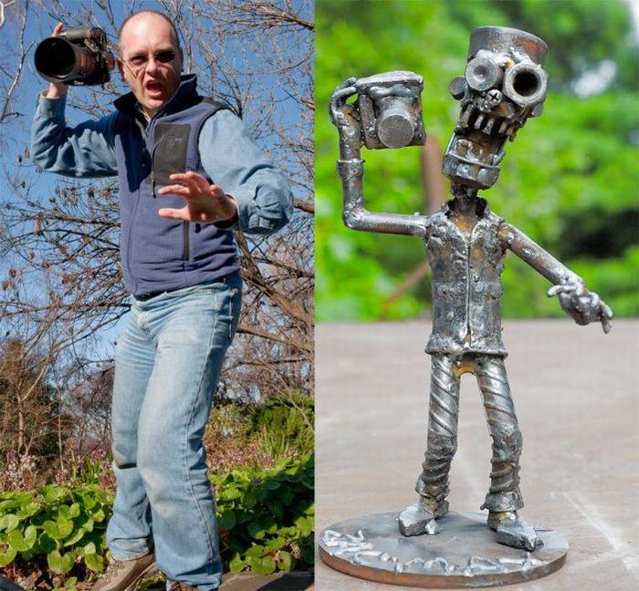 Люди и скульптуры (14 фото)