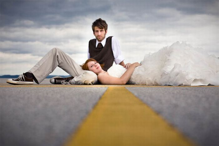 Экстремальная свадебная фотография (27 фото)