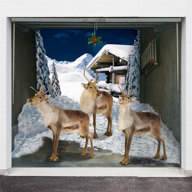 Укрась гараж к Рождеству.