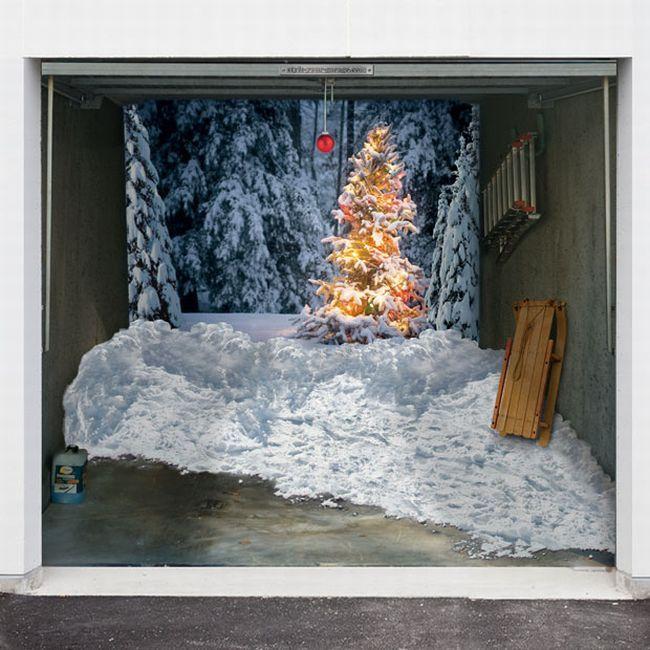 Рождественские наклейки на гаражи (10 фото)
