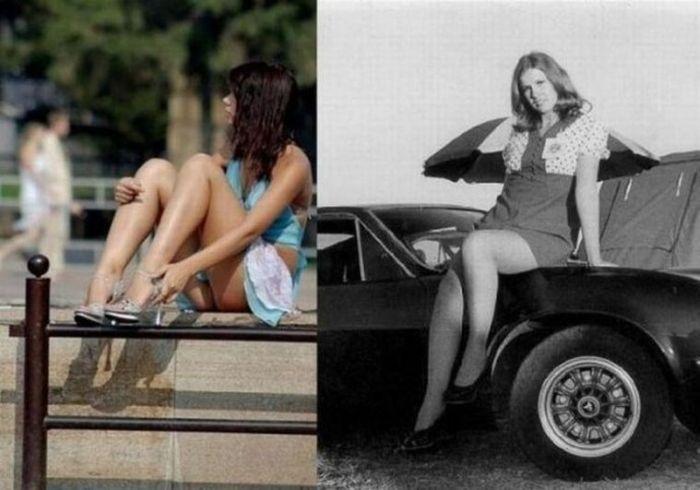 Как менялась длина юбок (18 фото)