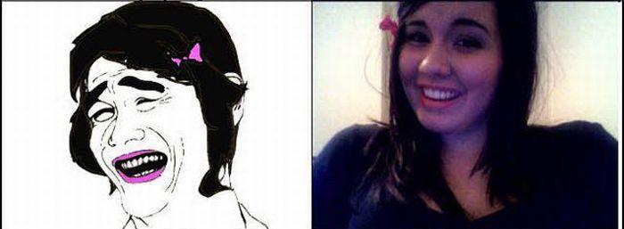 Девушка копирует рожи (33 фото)