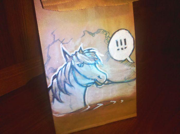 Рисунки на бумажных пакетах (100 фото)