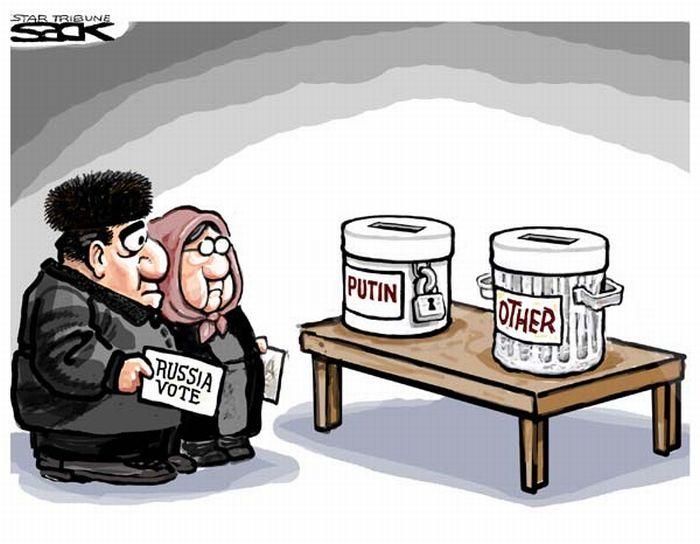 Иностранные карикатуры на наши выборы (21 картинка)