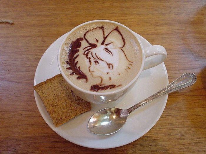 Рисунки на кофе (51 фото)