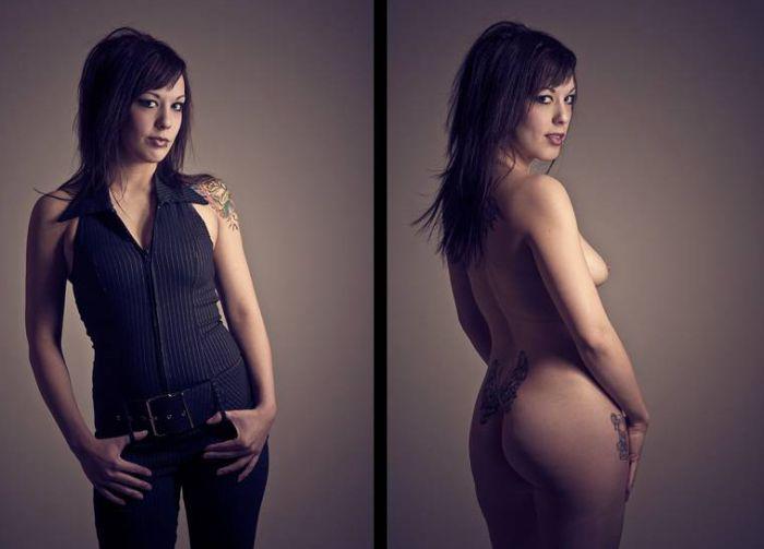 Девушки в одежде и без нее (21 фото)