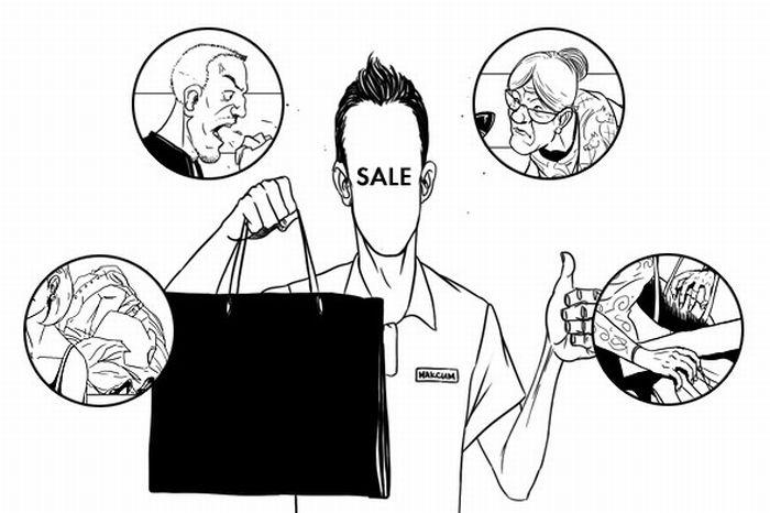 Работа продавца изнутри (10 картинок)