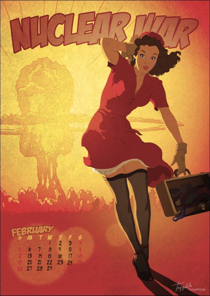 Календарь на 2012 в стиле пин-ап (13 картинок)
