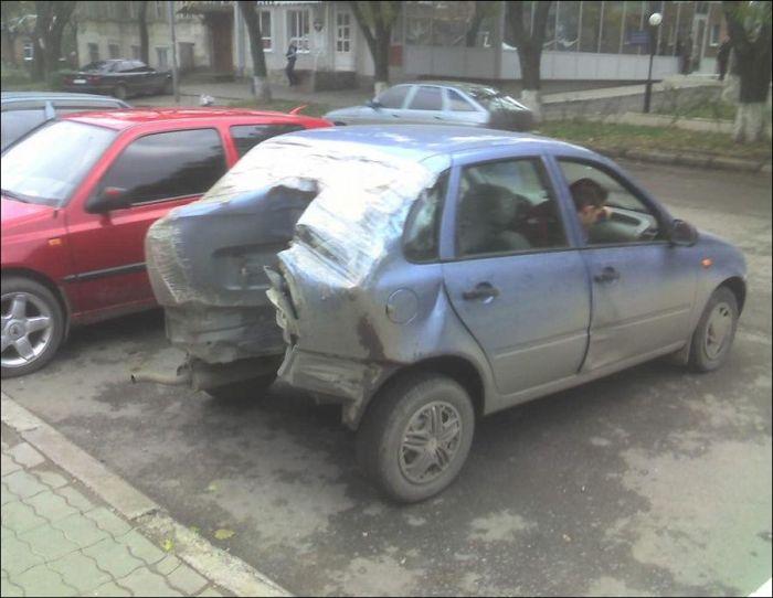 Лада Калина после аварии (4 фото)