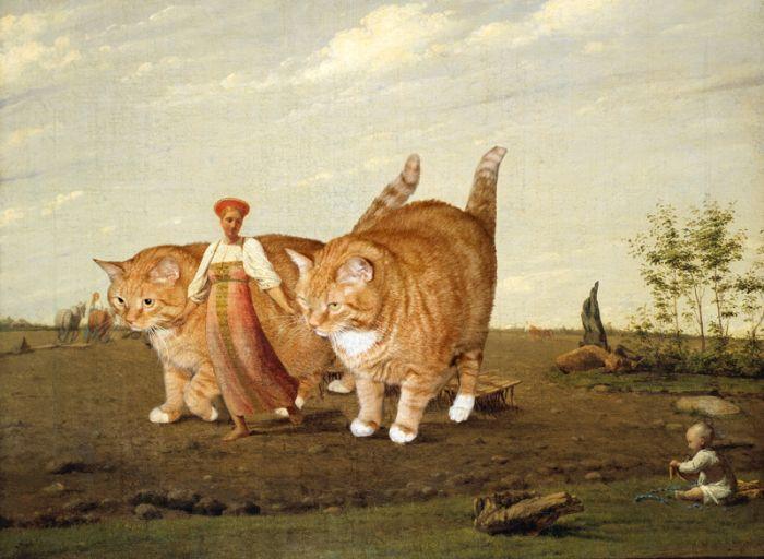 КотЭ в шедеврах русской классики (8 картин)