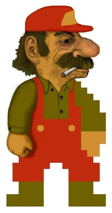 8-битный Марио в реальности (11 рисунков)