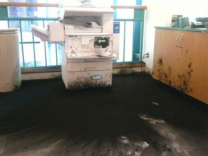 Взрыв офисного тонера (2 фото)