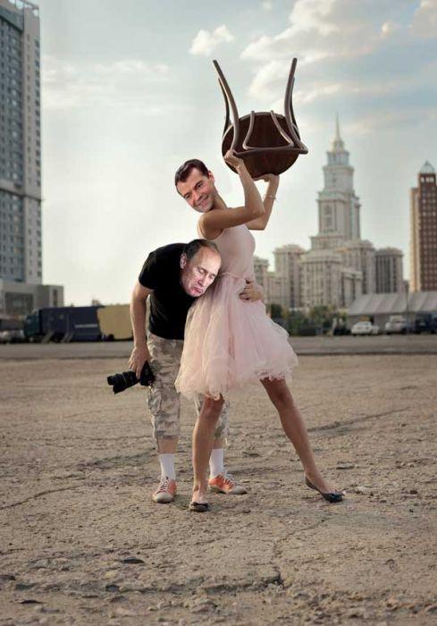 Фотожаба: Фотограф и девушка со стулом (25 фото)