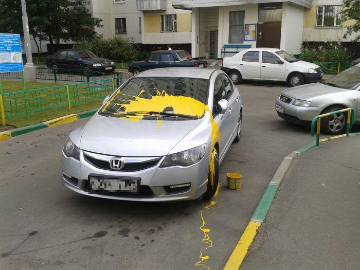 """""""Красочная"""" месть автовладельцу (3 фото)"""