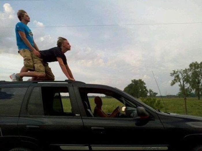 Гее в машине