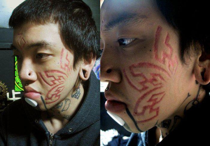 Жуткие татуировки и шрамирование (21 фото)