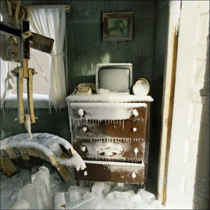 Забыли закрыть дверь на зиму (5 фото)