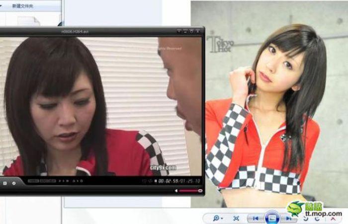 """Девушки из японского порно """"в кино и в реальности"""" (8 фото)"""