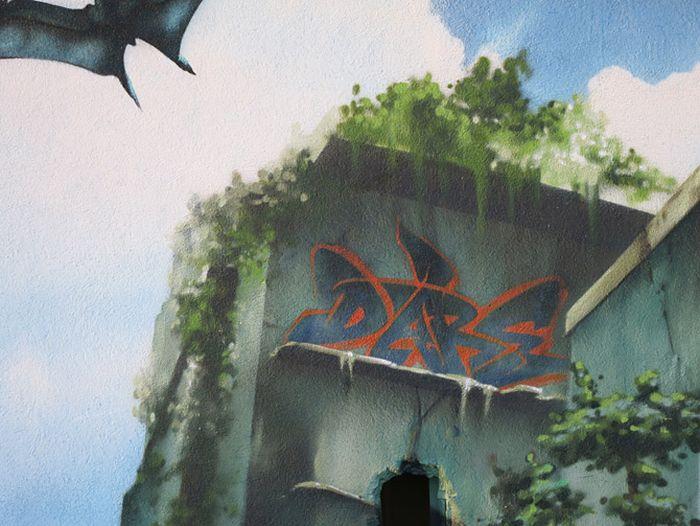 """Сногшибательное граффити в стиле """"Парк Юрского периода"""" (24 фото)"""
