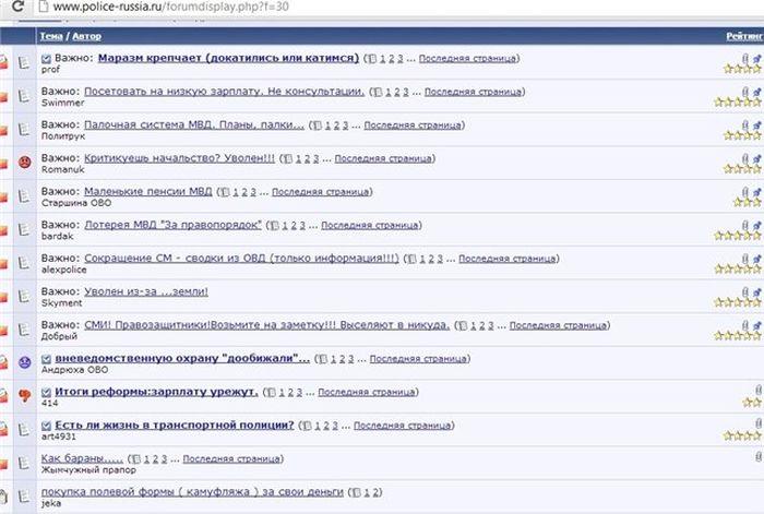 Секретный форум для сотрудников МВД (1 скриншот)