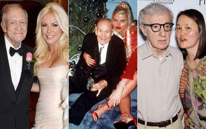 Богатые старые проказники и их молоденькие супруги (19 фото)