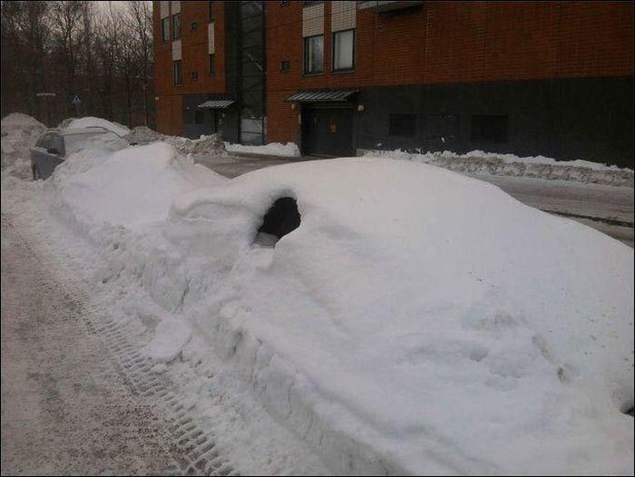 Как начинается зимнее утро у автолюбителя (3 фото)