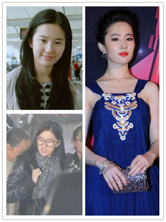 """Сравнительные снимки китайских актрис """"до и после"""" макияжа (16 фото)"""