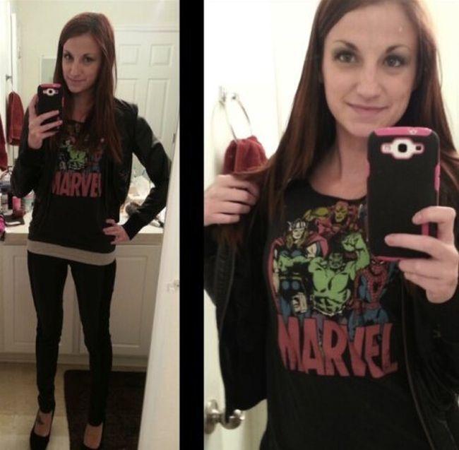 Симпатичные девушки у зеркала (45 фото)