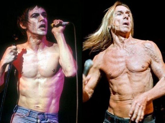 Рок-звезды: много лет назад и в наше время (20 фото)