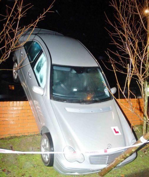 Барышня припарковала машину на стене после урока вождения (4 фото)