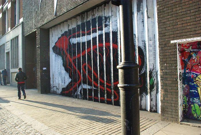 Необычный стрит-арт, создающий классную иллюзию (8 фото)
