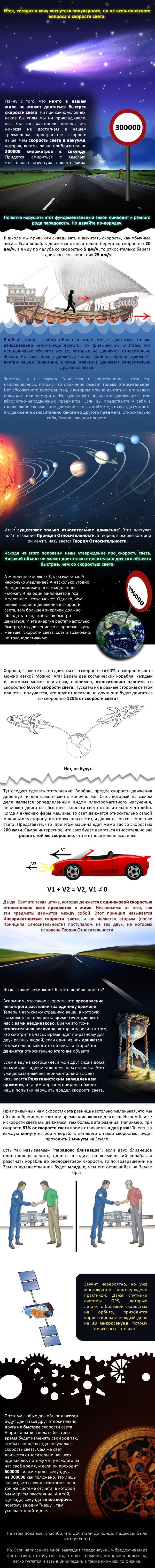 Интересные факты о скорости света (инфографик)