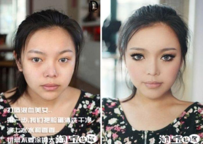 Удивительное преображение благодаря косметике (15 фото)