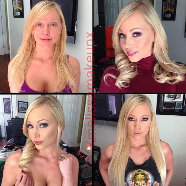 """Порноактрисы """"до и после макияжа"""" (26 фото)"""