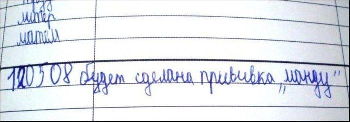 Смешные замечания в школьных дневниках (32 фото)