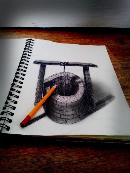 3D рисунки на плоской бумаге (41 фото)