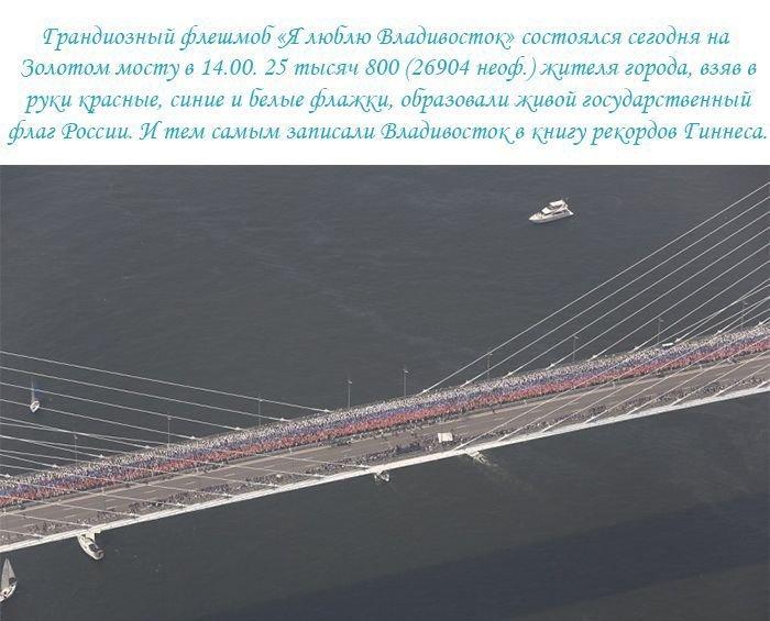 Гигантское изображение флага на мосту во Владивостоке (11 фото)