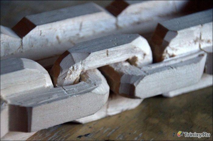 Делаем необычную деревянную цепь (13 фото)