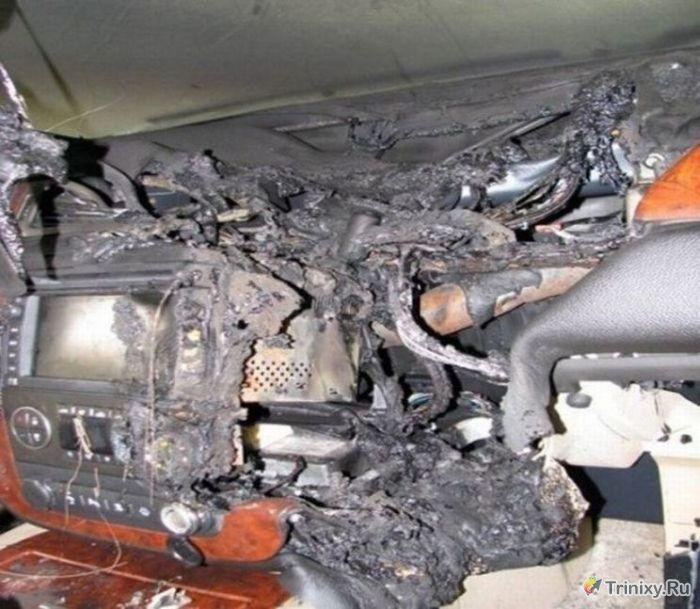 Последствия короткого замыкания в машине (5 фото)