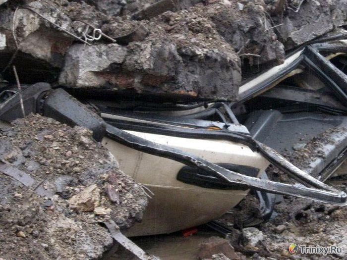 Обрушение опорной стены в Красноярске (9 фото + видео)