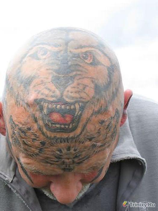 Необычные тату на голове (67 фото)