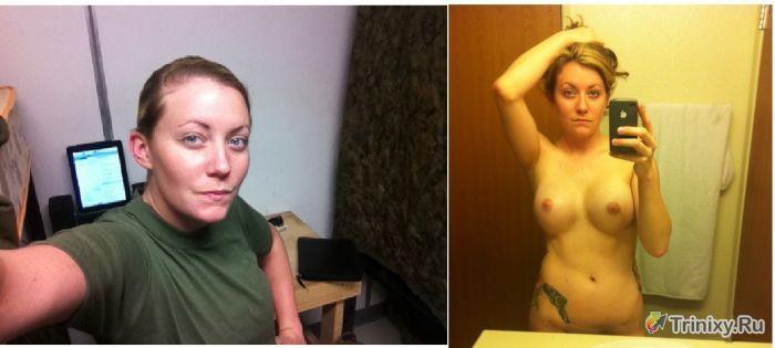 Девушки в форме и без нее (12 фото)