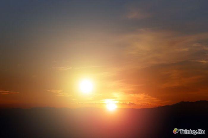 Необычное природное явление - два солнца (6 фото )
