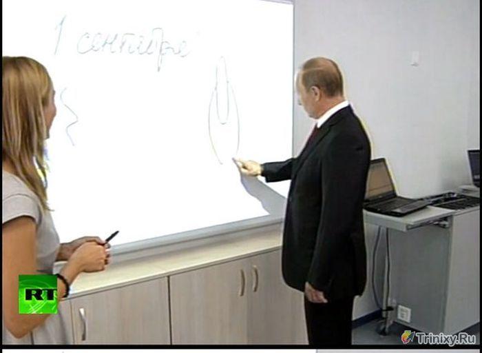 Владимир Путин удивил детей своим странным рисунком (24 фото + видео + гиф)